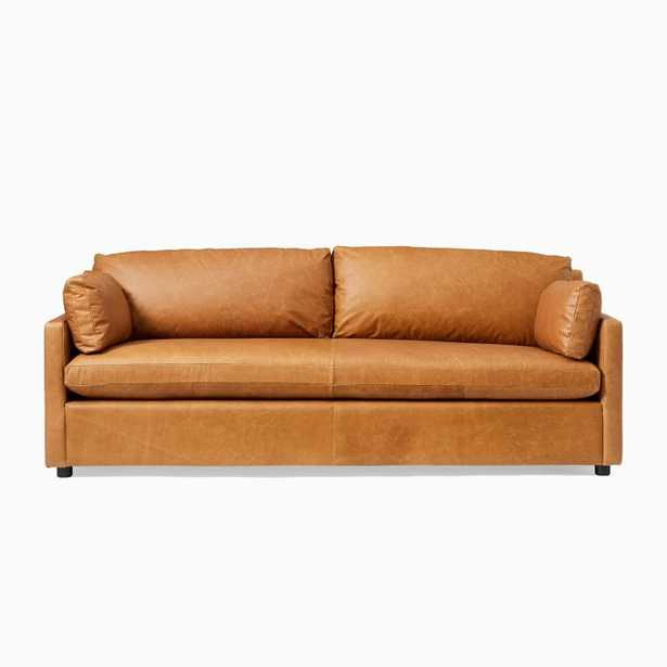 """Marin 85.5"""" Sofa, Down, Saddle Leather, Nut, Concealed Support - West Elm"""