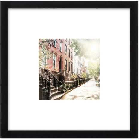 Brooklyn Summer - 8x8, frosted black frame with mat - Artfully Walls