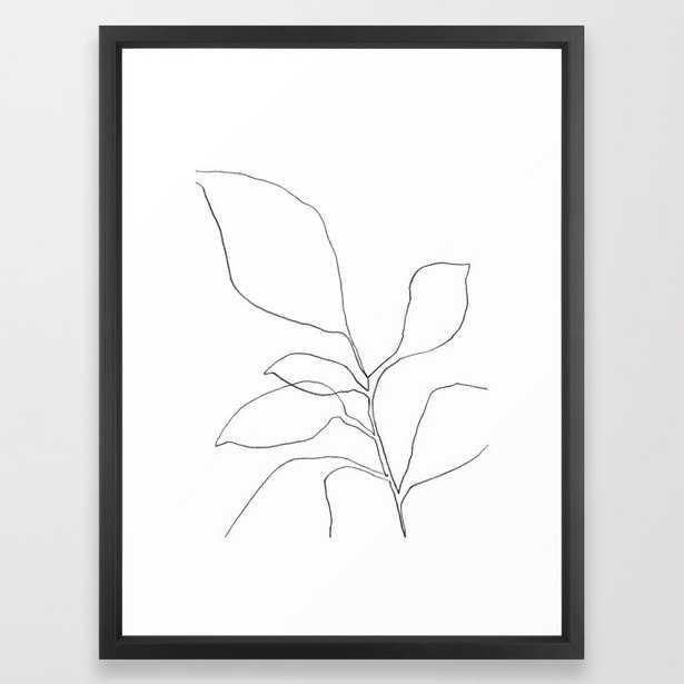 Six Leaf Plant - Minimalist Botanical Line Drawing Framed Art Print, 20x26 - Society6