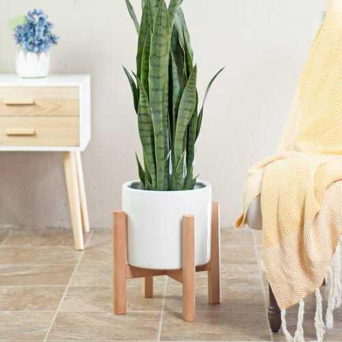 Bratcher Ceramic Pot Planter with Plant Stand- white - Wayfair