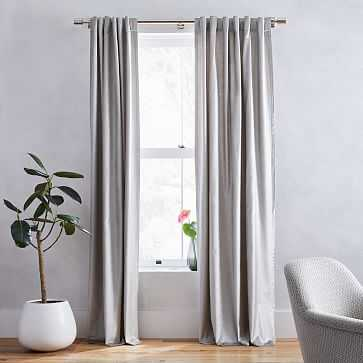 "Luster Velvet Curtain + Blackout Panel, Individual, Platinum 48""x84"" - West Elm"