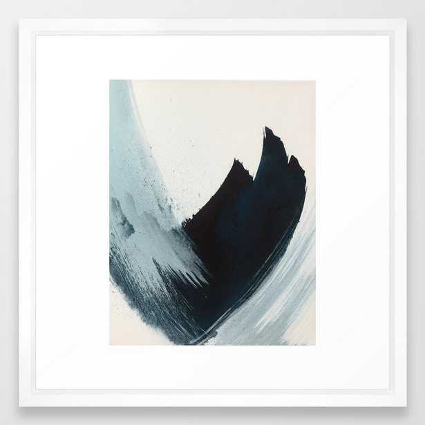 Like A Gentle Hurricane: A Minimal, Abstract Piece In Blues And White By Alyssa Hamilton Art Framed Art Print by Alyssa Hamilton Art - Vector Black - MEDIUM (Gallery)-22x22 - Society6