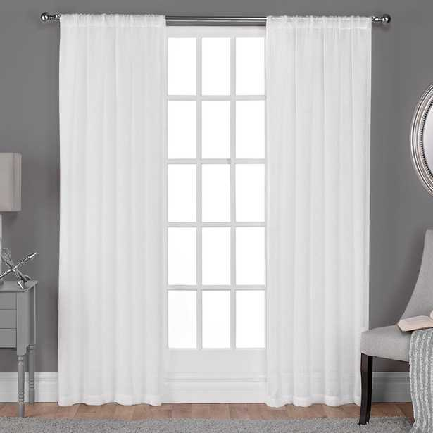 Belgian 50 in. W x 96 in. L Sheer Rod Pocket Top Curtain Panel in Winter White (2 Panels) shareShare save to favoritesSave to Favorites printPrint Belgian 50 in. W x 96 in. L Sheer Rod Pocket Top Curtain Panel in Winter White (2 Panels) - Home Depot