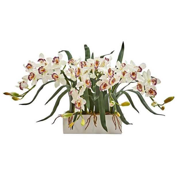 Cymbidium Artificial Arrangement in White Vase - Fiddle + Bloom