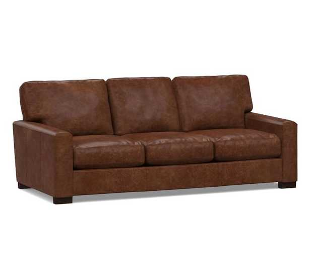 """Turner Square Arm Leather Sofa 2-Seater 85.5"""" without Nailheads, Down Blend Wrapped Cushions, Statesville Molasses - Pottery Barn"""