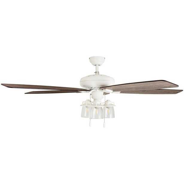 "60"" Winterview 5 Blade Ceiling Fan, Light Kit Included, Remote - Wayfair"