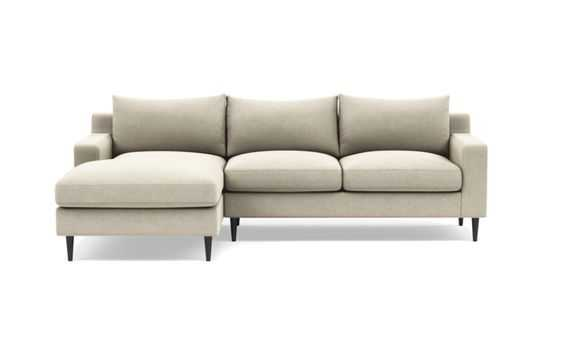 Sloan Left Sectional with Beige Flax Fabric, down alternative cushions, and Painted Black legs - Interior Define