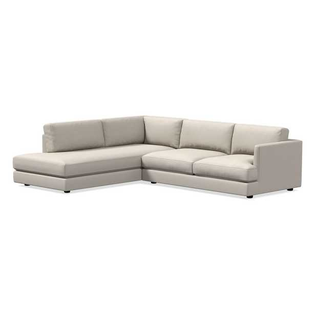 Haven Sectional Set 02: Right Arm 2 Seater Sofa, Left Arm Terminal Chaise, Trillium, Performance Yarn Dyed Linen Weave, Alabaster, Concealed Support - West Elm