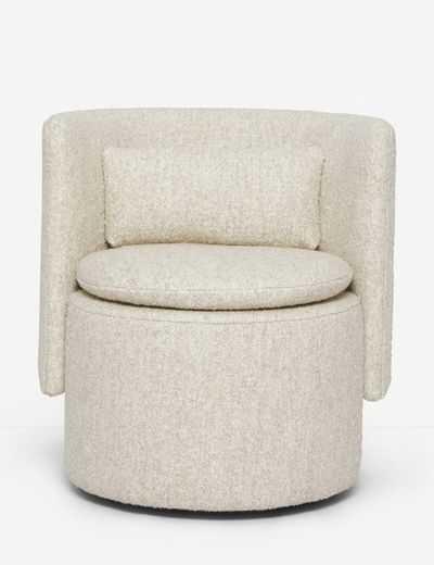 Hazel Swivel Chair, Natural Boucle - Lulu and Georgia