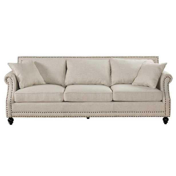 """Beige Cadwell 90.6"""" Rolled Arm Sofa - Wayfair"""
