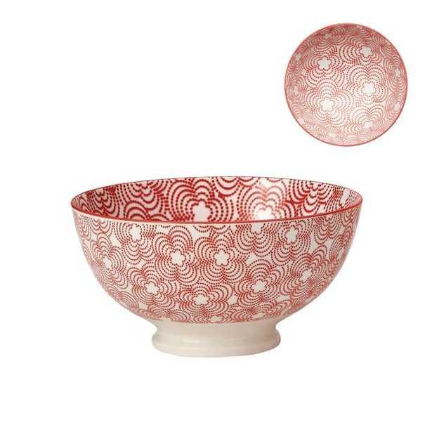Medium Kiri Porcelain Bowl in Red W/ Red Trim design by Torre & Tagus - Burke Decor
