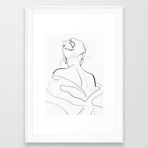 Woman-line art Framed Art Print - Society6