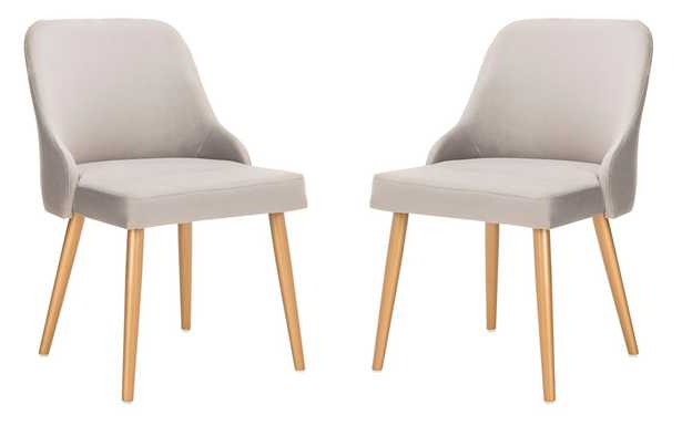 Lulu Upholstered Dining Chair (Set of 2) - Grey/Gold - Arlo Home - Arlo Home