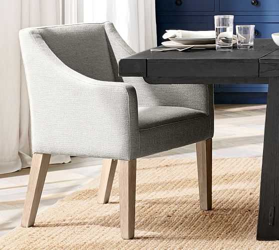 PB Classic Upholstered Slope Arm Dining Chair with Seadrift Legs, Performance Heathered Tweed Pebble - Pottery Barn