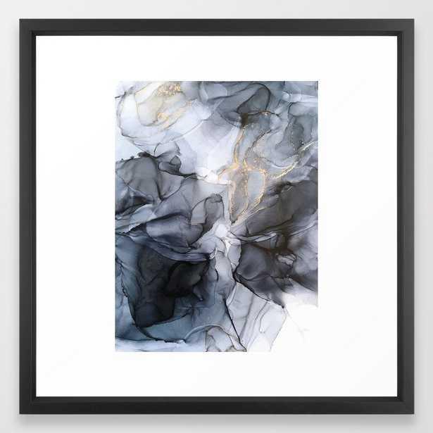Calm but Dramatic Light Monochromatic Black & Grey Abstract Framed Art Print - Society6