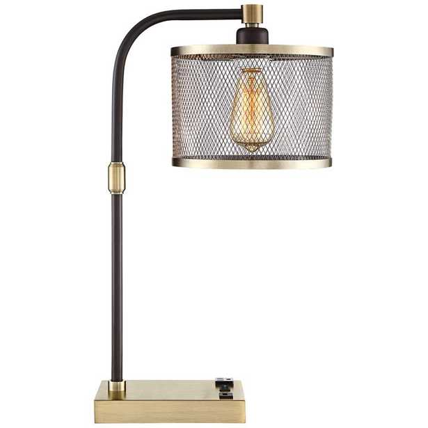 Brody Antique Brass Desk Lamp with USB and Outlet - Lamps Plus