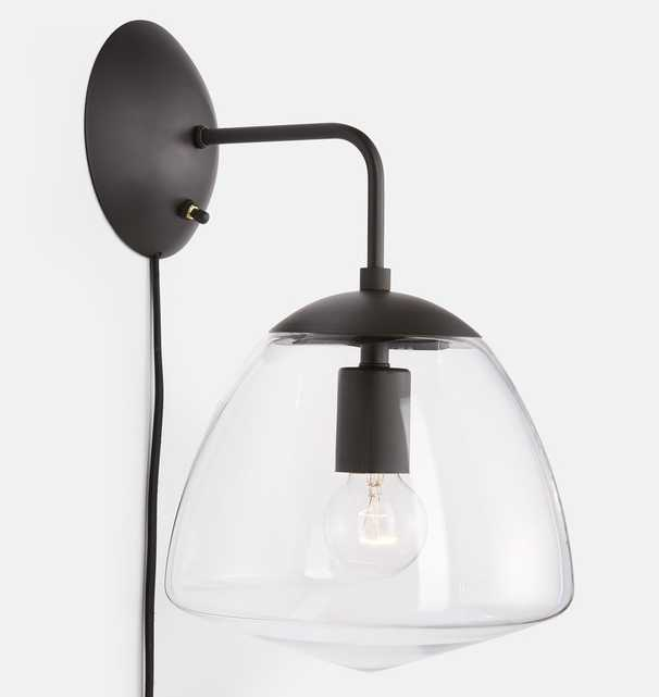 """Oswego 9"""" Clear Dome Wall Plug-In Sconce - Rejuvenation"""