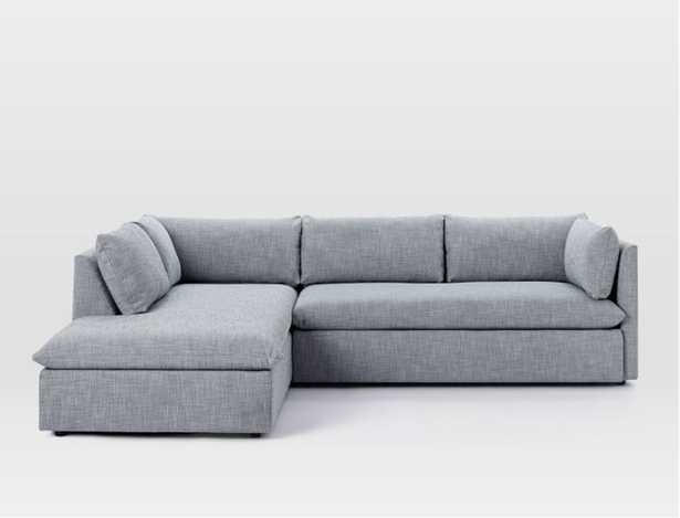 Shelter 2-Piece Terminal Chaise Sectional, Left Terminal Chase 2-Piece Sectional - Shelter Blue - West Elm