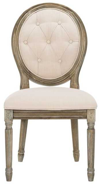 Holloway Tufted Oval Side Chair  - Beige/Rustic Oak - Arlo Home - Arlo Home