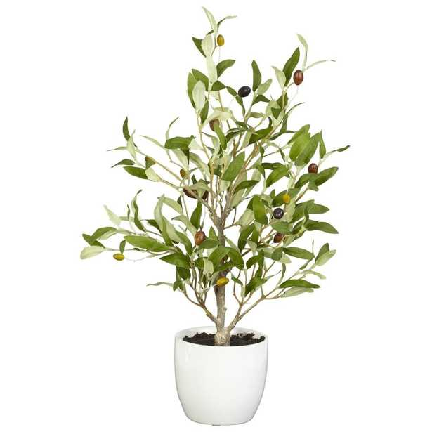 """Olive Silk Tree with White Vase, 18"""", Set of 2 - Fiddle + Bloom"""