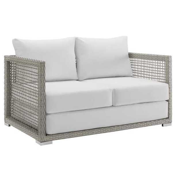 Aura Outdoor Patio Wicker Rattan Loveseat in Gray White - Modway Furniture
