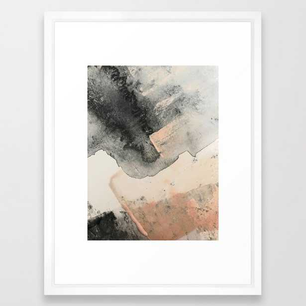 Peace And Quiet [2]: A Pretty, Minimal Abstract Piece In Gray And Peach By Alyssa Hamilton Art Framed Art Print by Alyssa Hamilton Art - Vector White - MEDIUM (Gallery)-20x26 - Society6
