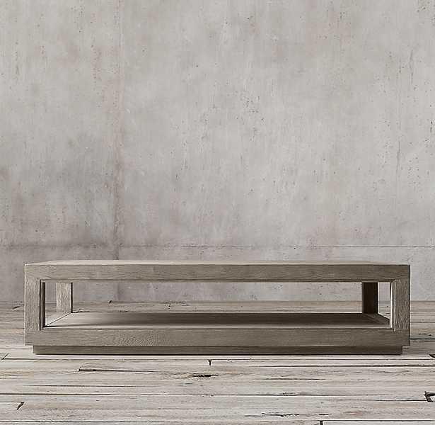 GRAND FRAMED RECTANGULAR COFFEE TABLE - Weathered Grey Oak - RH