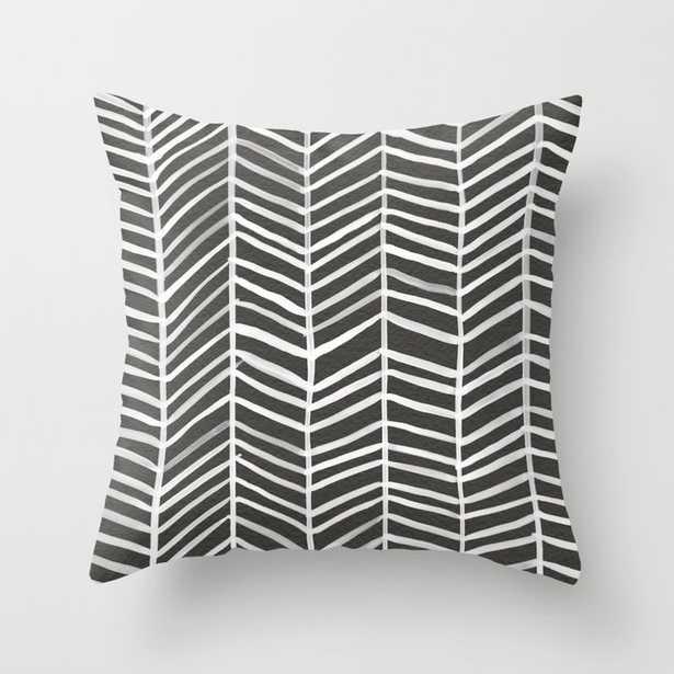 Herringbone – Black & White Throw Pillow - Society6