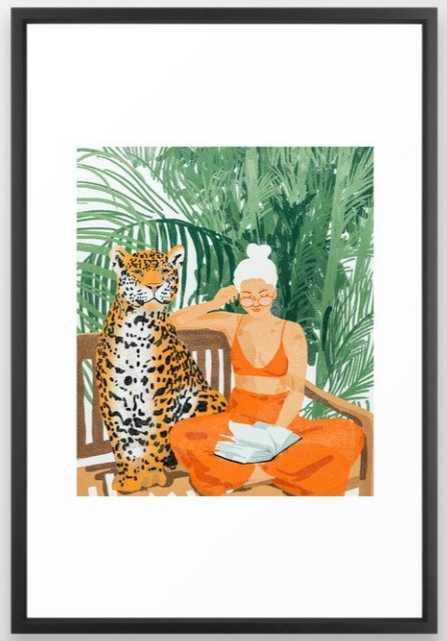 Jungle Vacay #painting #illustration Framed Art Print - Large - 26 x 38, Vector Black Frame - Society6