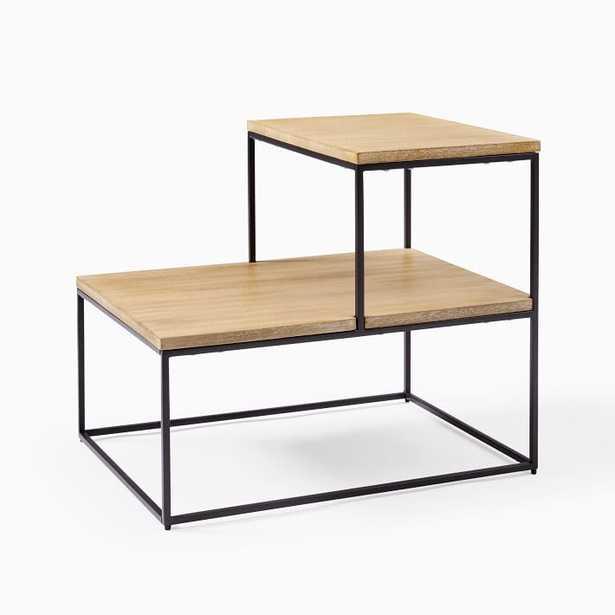 Streamline Tiered Side Table - Whitewashed Mango Wood/Antique Bronze - West Elm