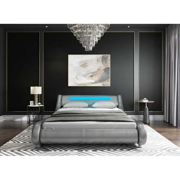 Silver PU Abner Upholstered Sleigh Bed - Wayfair