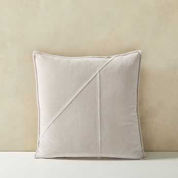 """Washed Cotton Velvet Pillow Cover, 18""""x18"""", Stone Gray - West Elm"""