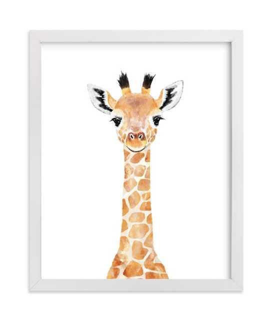 "Baby Giraffe 2, 8""x10"", White Wood Frame - Minted"