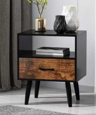 Kaelin 1 - Drawer Nightstand in Black/Rustic Wood - Wayfair