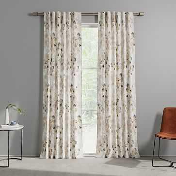 """Cotton Canvas Delicate Floral Curtain, Set of 2, Rosette, 48""""x96"""" - West Elm"""