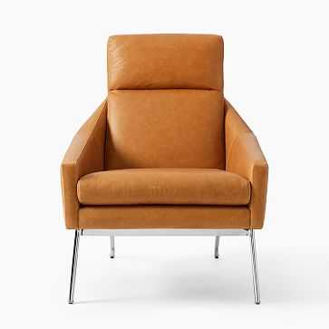 Austin Stationary Chair, Leather, Sesame, Polished Stainless Steel - West Elm