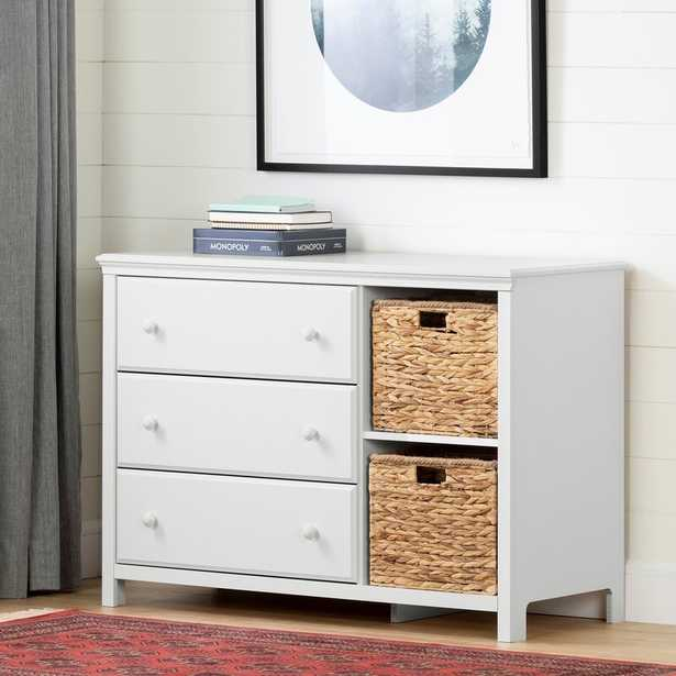 White Cotton Candy 3 Drawer Dresser with Cubbies - Wayfair
