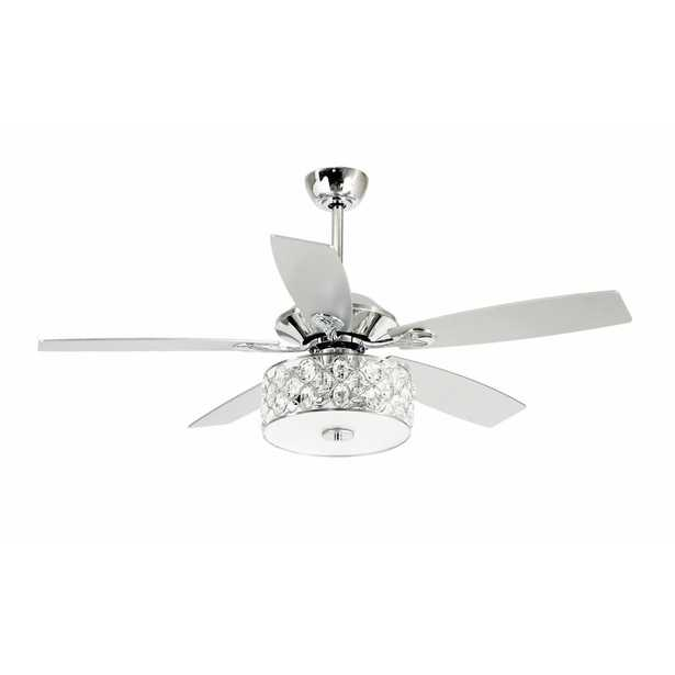 """52"""" Amina 5 - Blade Crystal Ceiling Fan with Remote Control and Light Kit Included See More from Rosdorf Park - Wayfair"""