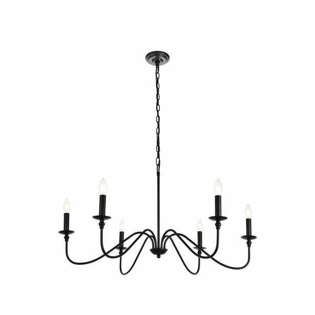 "36"" W x 19"" H Matte Black Hamza 6-Light Candle Style Chandelier - Wayfair"