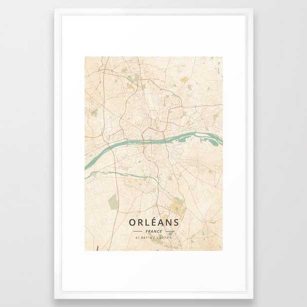 "Orleans, France - Vintage Map Framed Art Print Vector White Large 26""x38"" - Society6"