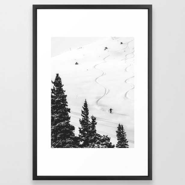 "Backcountry Skier // Fresh Powder Snow Mountain Ski Landscape Black and White Photography Vibes Framed Art Print - 26"" x 38 - Vector black - Society6"