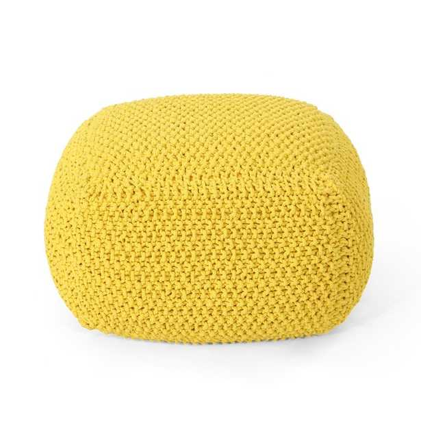 Groner Knitted Pouf - Yellow - Wayfair