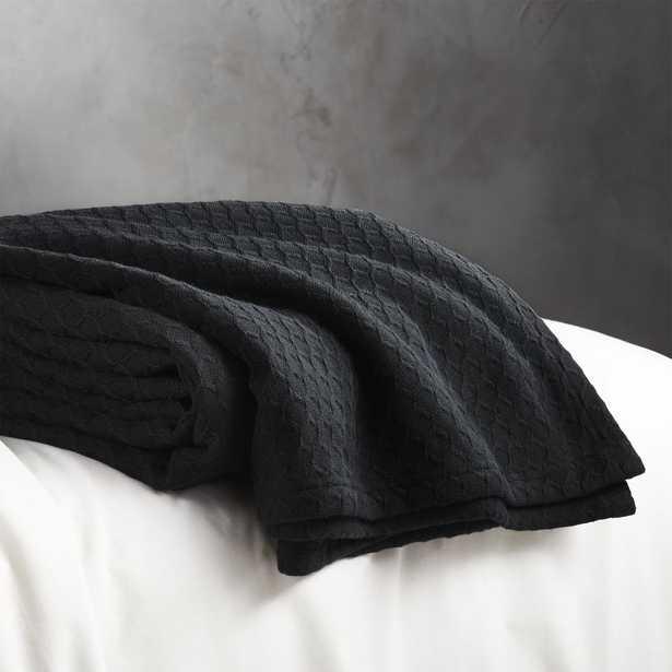 Hive Black Waffle Weave Blanket King - CB2