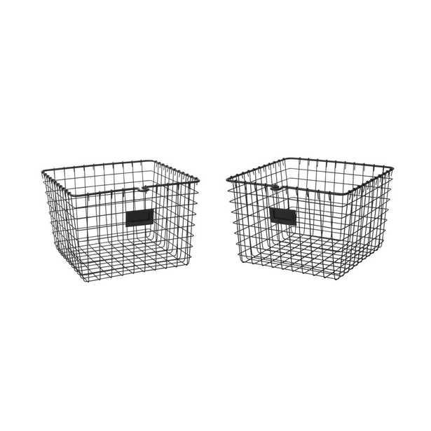 13.75 in. D x 11.25 in. W x 8 in. H Black Medium Steel Wire Storage Bin Basket Organizer (2-Pack) - Home Depot