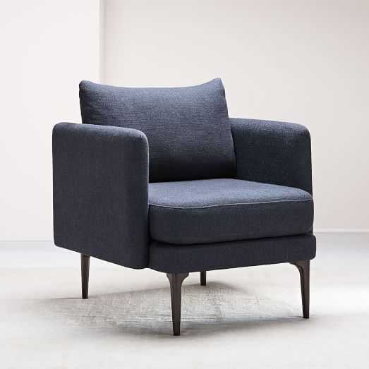 Auburn Chair, Distressed Velvet,Twill, Black Indigo - West Elm
