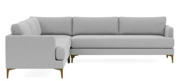 "WINSLOW 4-Seat Corner Sectional; Ecru Monochromatic Plus, Brass Plated Legs; Standard 35"" Depth Cushions; Bench Cushion; Down Alternative Cushions - Interior Define"