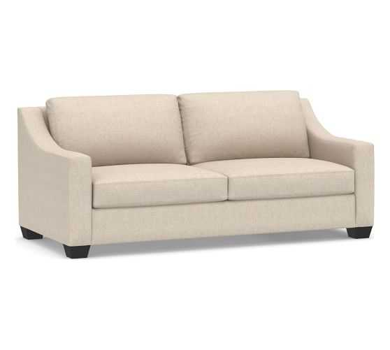 """York Slope Upholstered Sofa 80"""", Down Blend Wrapped Cushions, Performance Everydaylinen(TM) by Crypton(R) Home Oatmeal - Pottery Barn"""