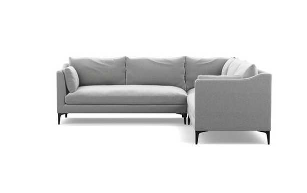 CAITLIN BY THE EVERYGIRL Corner Sectional Sofa in Ash Performance Felt with Matte Black Sloan L Leg - Interior Define