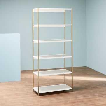 Zane Wide Bookshelf, White/Antique Brass - West Elm