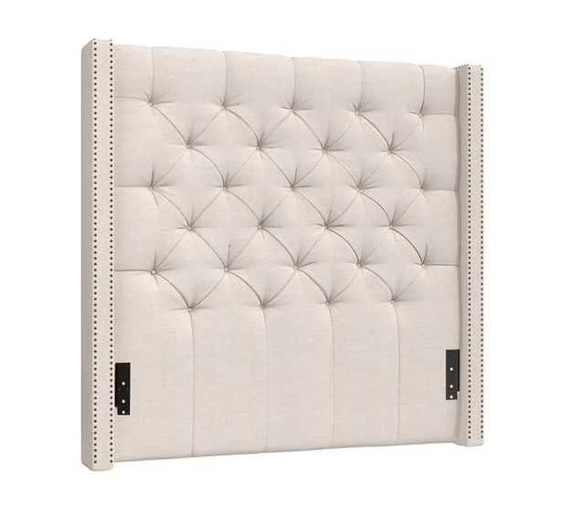 Harper Upholstered Tufted Tall Headboard with Pewter Nailheads, Queen, Twill Cream - Pottery Barn